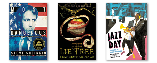 covers of the three 2016 horn book award winners. titles are listed below