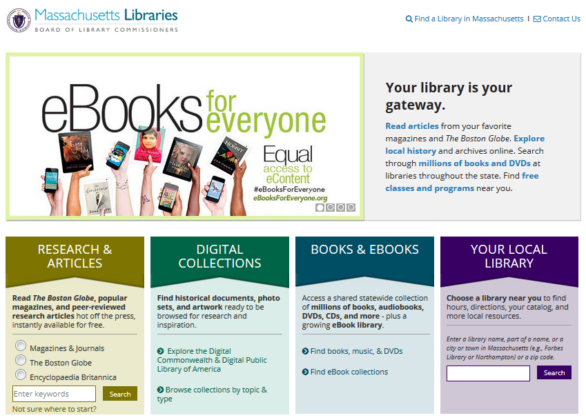 screenshot of massachusetts libraries website homepage