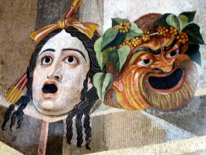 Tragedy and Comedy masks : From the Baths of Decius on the Aventine Hill, Rome