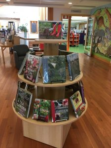 Gardening resources at the West Tisbury Public Library on display.